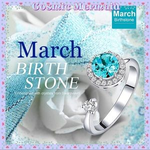 🆕🦋Rotating MARCH Birthstone Ring🦋SIZE ADJUSTS✨